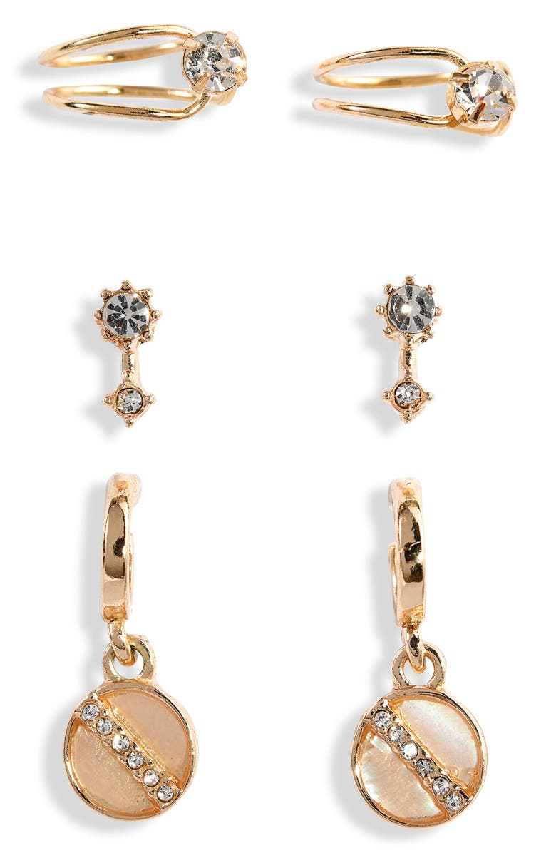 BP. x Claudia Sulewski Set of 3 Ear Cuffs & Earrings, Main, color, NATURAL- CLEAR- GOLD