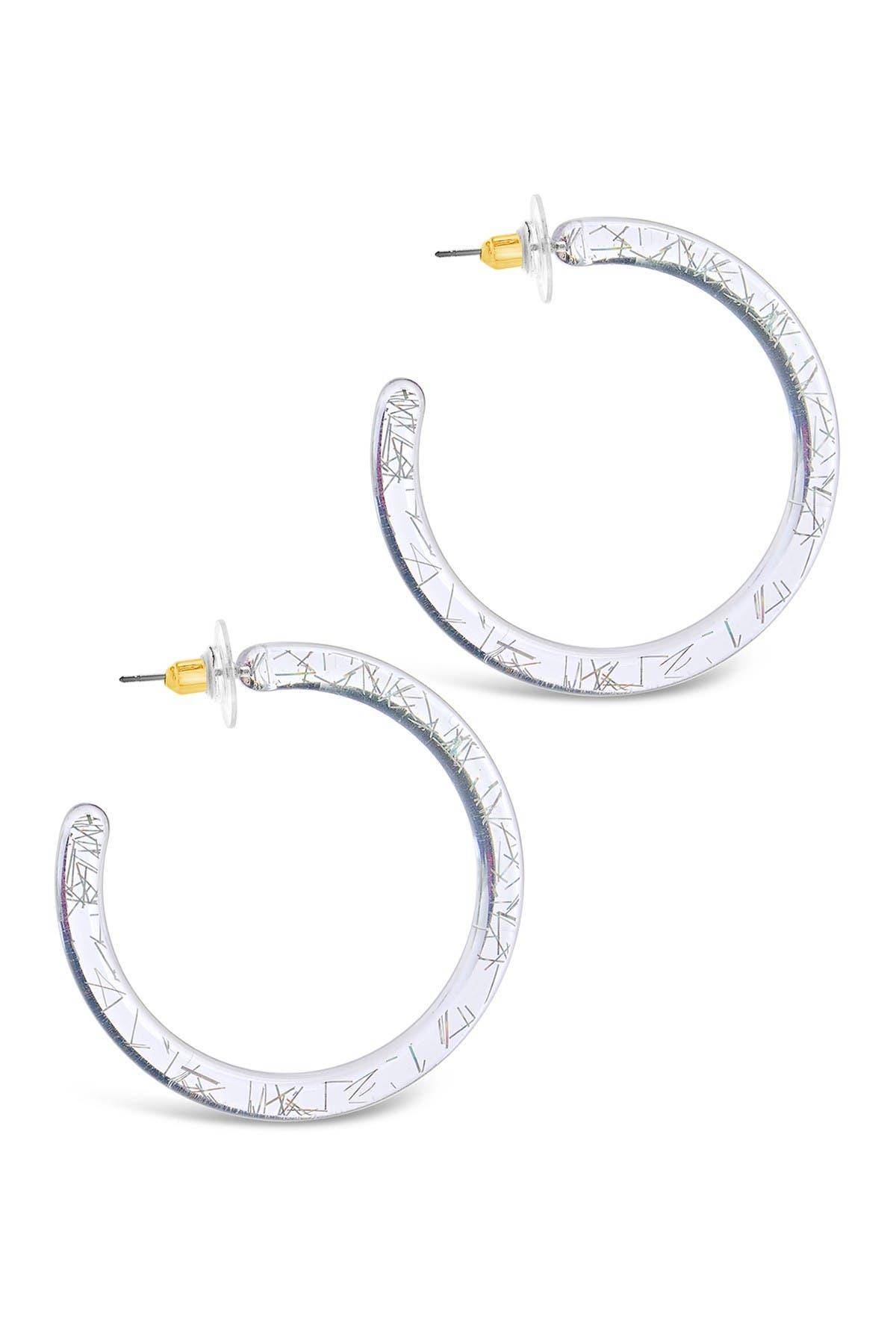 Sterling Forever Rainbow Glitter Lucite Round Hoop Earrings
