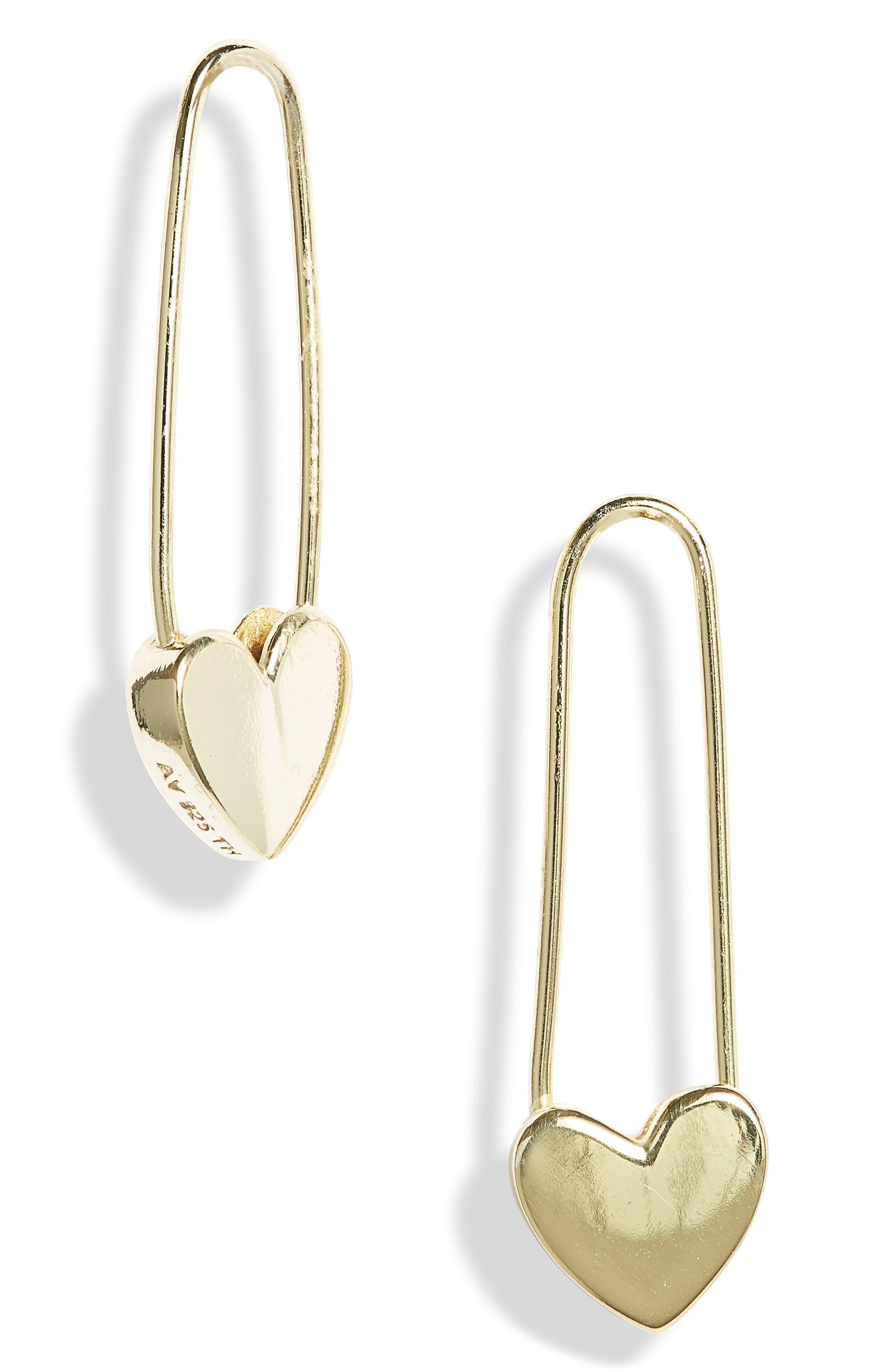 Safety Pin Heart Drop Earrings