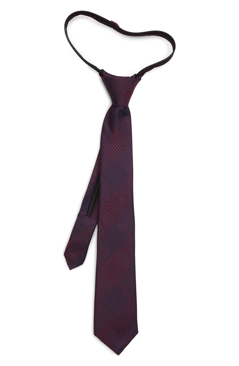 NORDSTROM Kyle Plaid Silk Zipper Tie, Main, color, RED