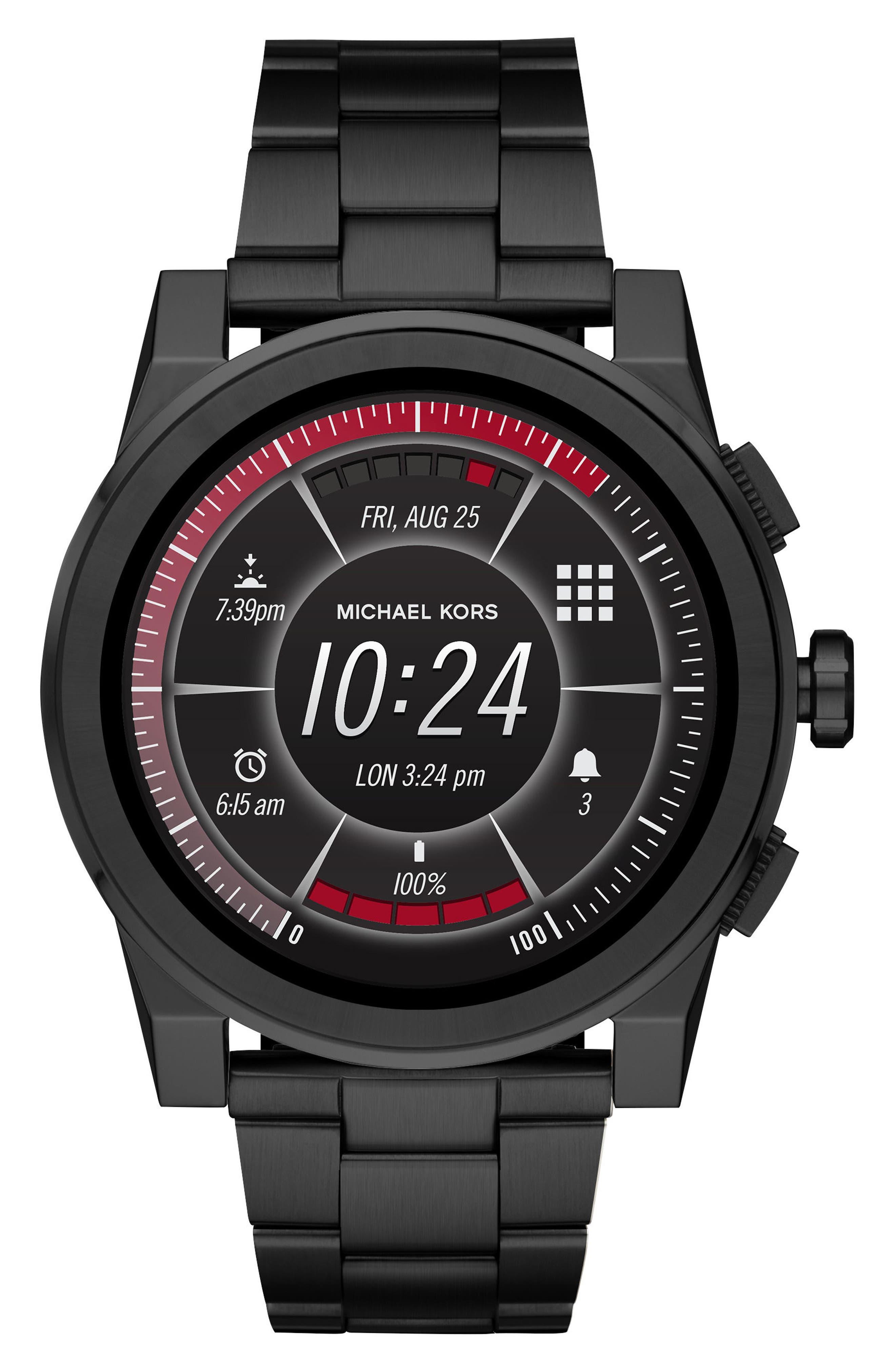 ,                             Grayson Smart Bracelet Watch, 47mm,                             Alternate thumbnail 6, color,                             BLACK