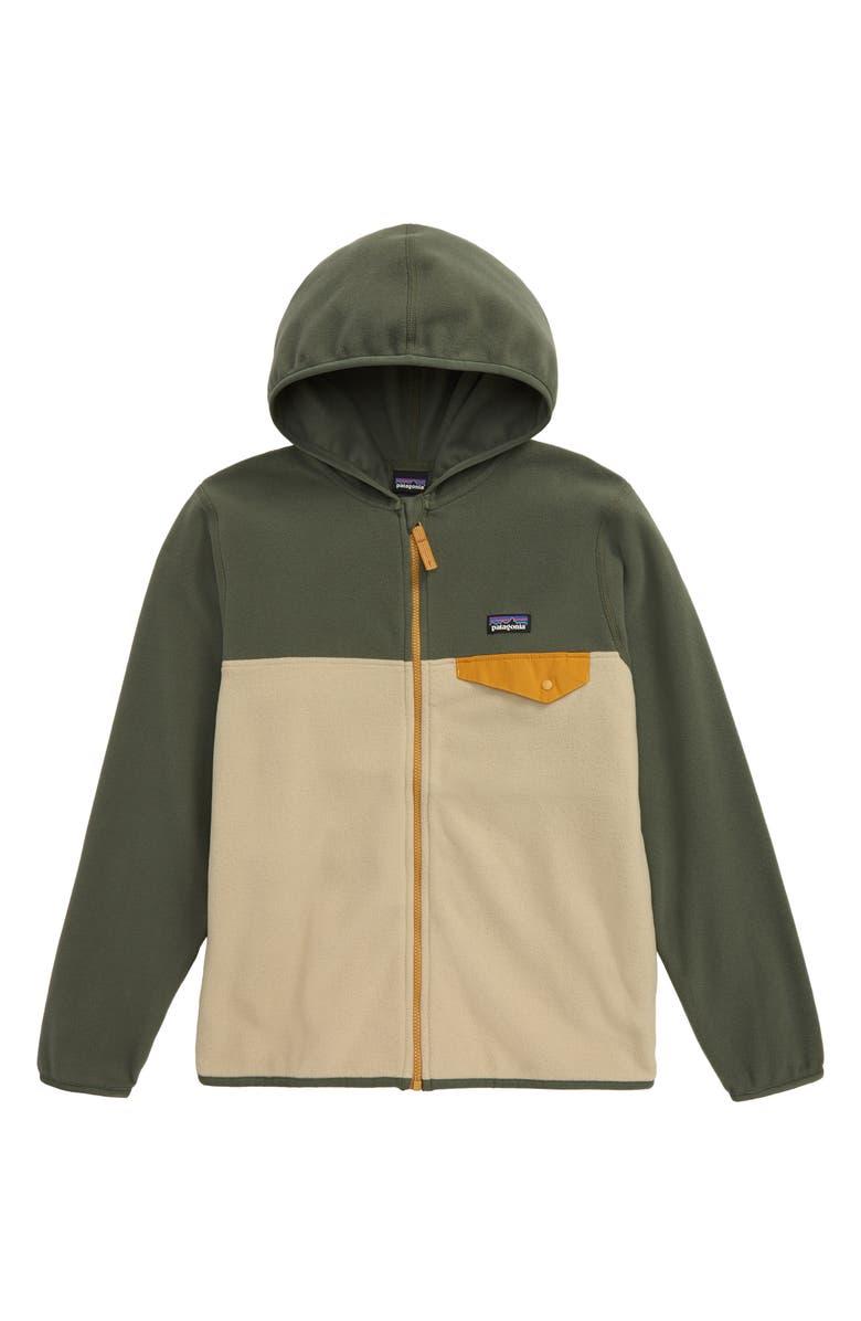 PATAGONIA Micro D<sup>®</sup> Snap-T<sup>®</sup> Hooded Fleece Jacket, Main, color, EL CAP KHAKI