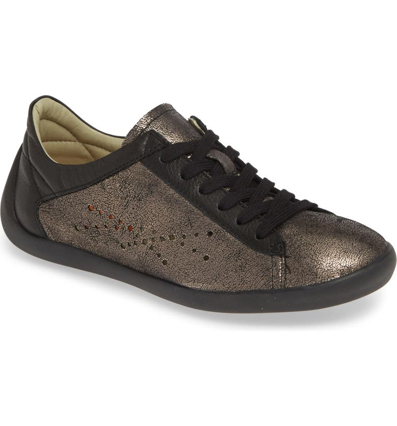 SOFTINOS BY FLY LONDON Nie Perforated Low Top Sneaker, Main, color, GRAPHITE/ BLACK LEATHER