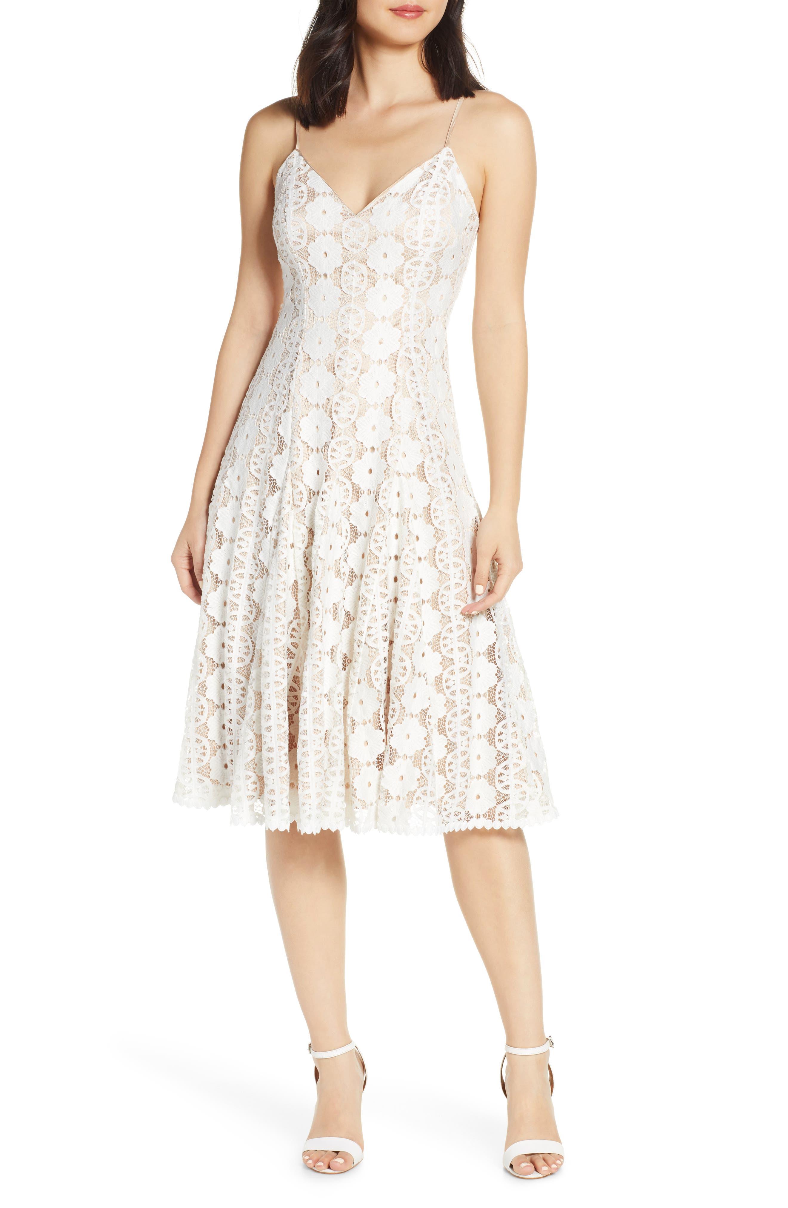 Eliza J Sleeveless Lace Dress, Ivory