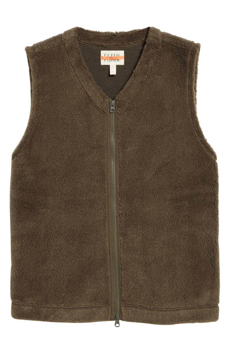 EILEEN FISHER Recycled Polyester Fleece Vest, Main, color, SURPLUS
