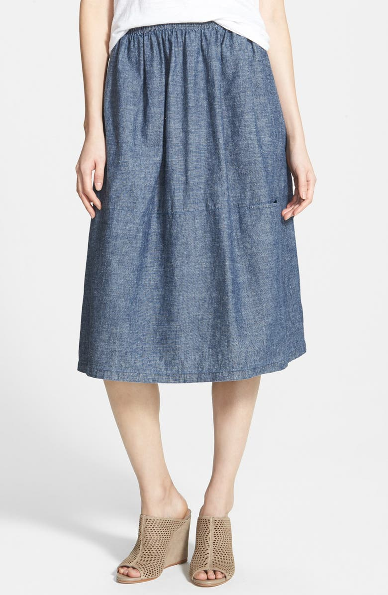 EILEEN FISHER Chambray Skirt, Main, color, 480