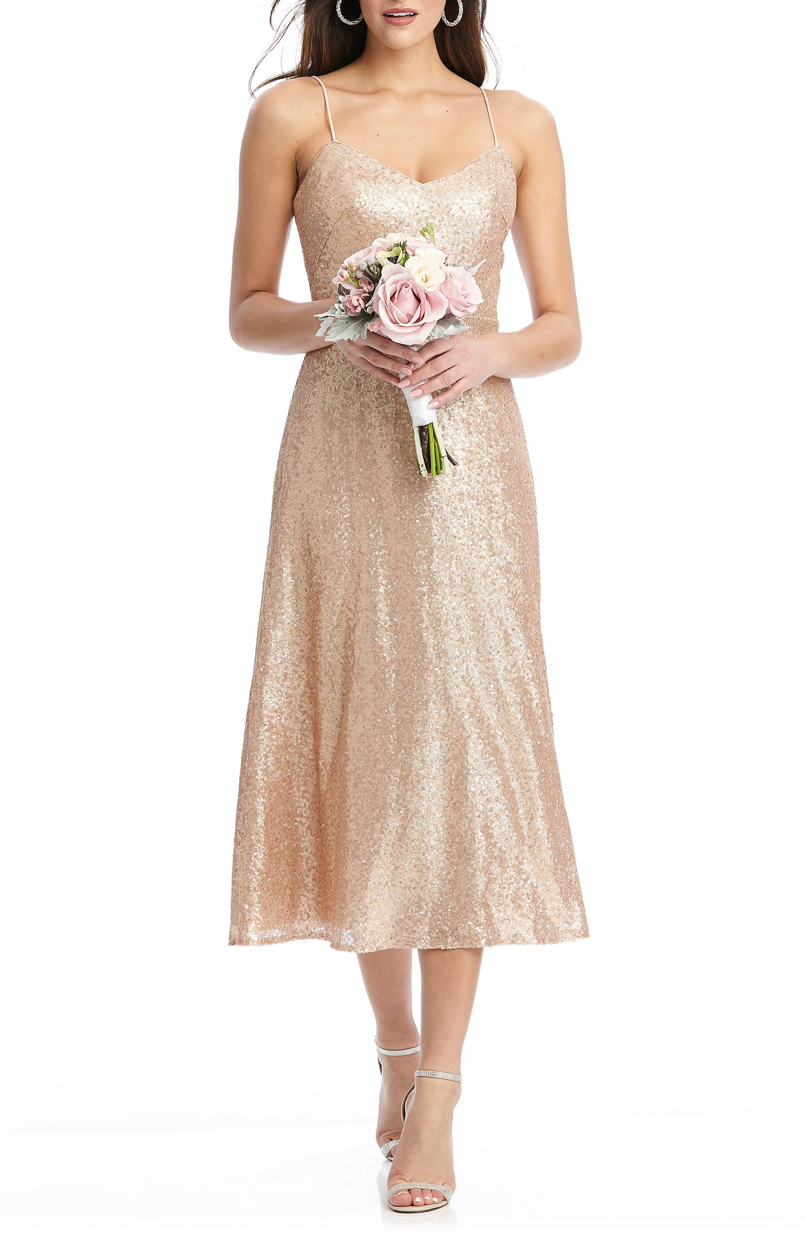 70s Prom, Formal, Evening, Party Dresses Womens Dessy Collection Elle Sequin Cocktail Dress $263.00 AT vintagedancer.com