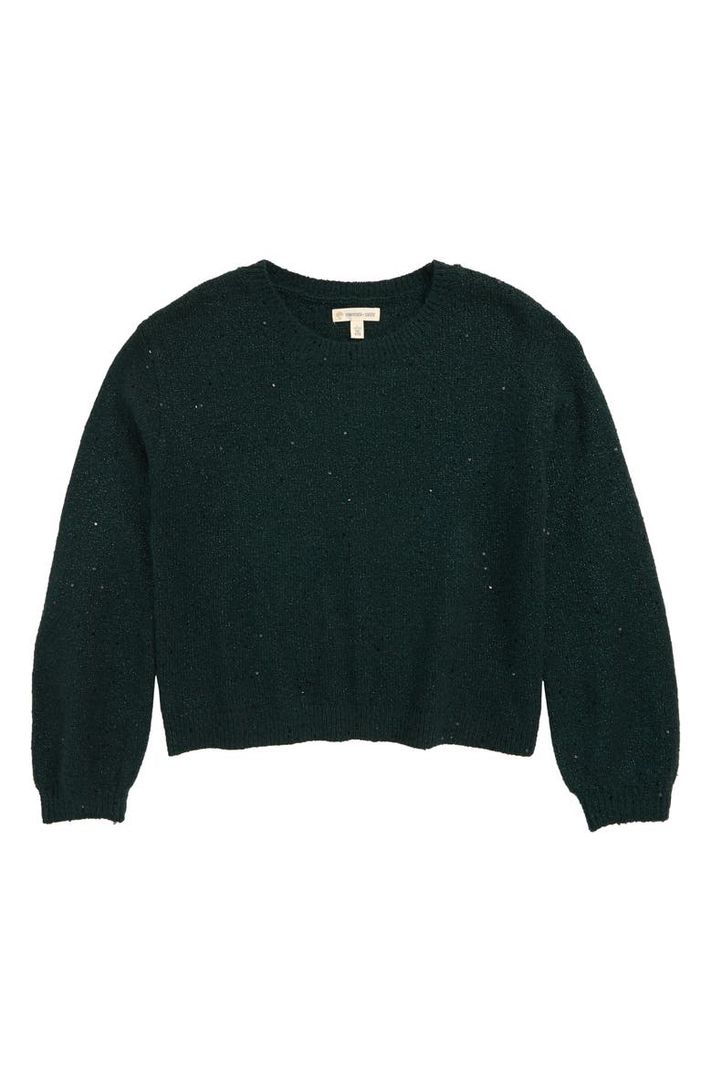 TUCKER + TATE Sequin Shimmer Sweater, Main, color, GREEN PONDEROSA