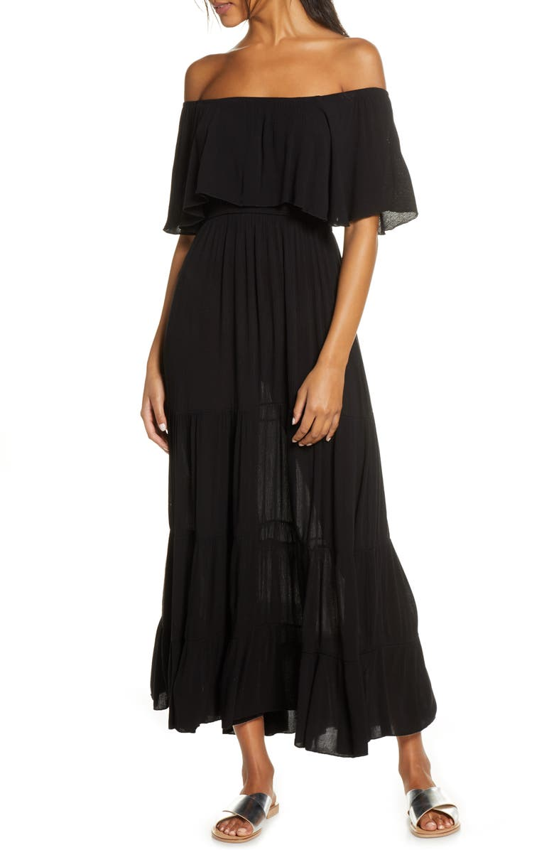 ELAN Off the Shoulder Ruffle Cover-Up Maxi Dress, Main, color, 001