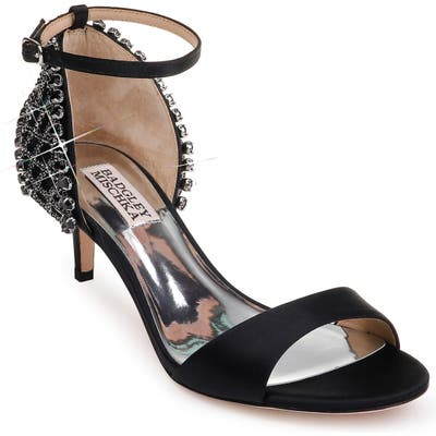 Badgley Mischka Adora Embellished Kitten Heel Sandal, Black