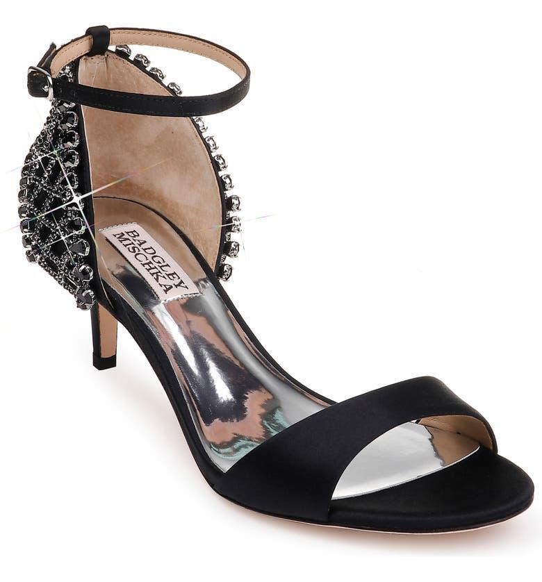 BADGLEY MISCHKA COLLECTION Badgley Mischka Adora Embellished Kitten Heel Sandal, Main, color, BLACK SATIN