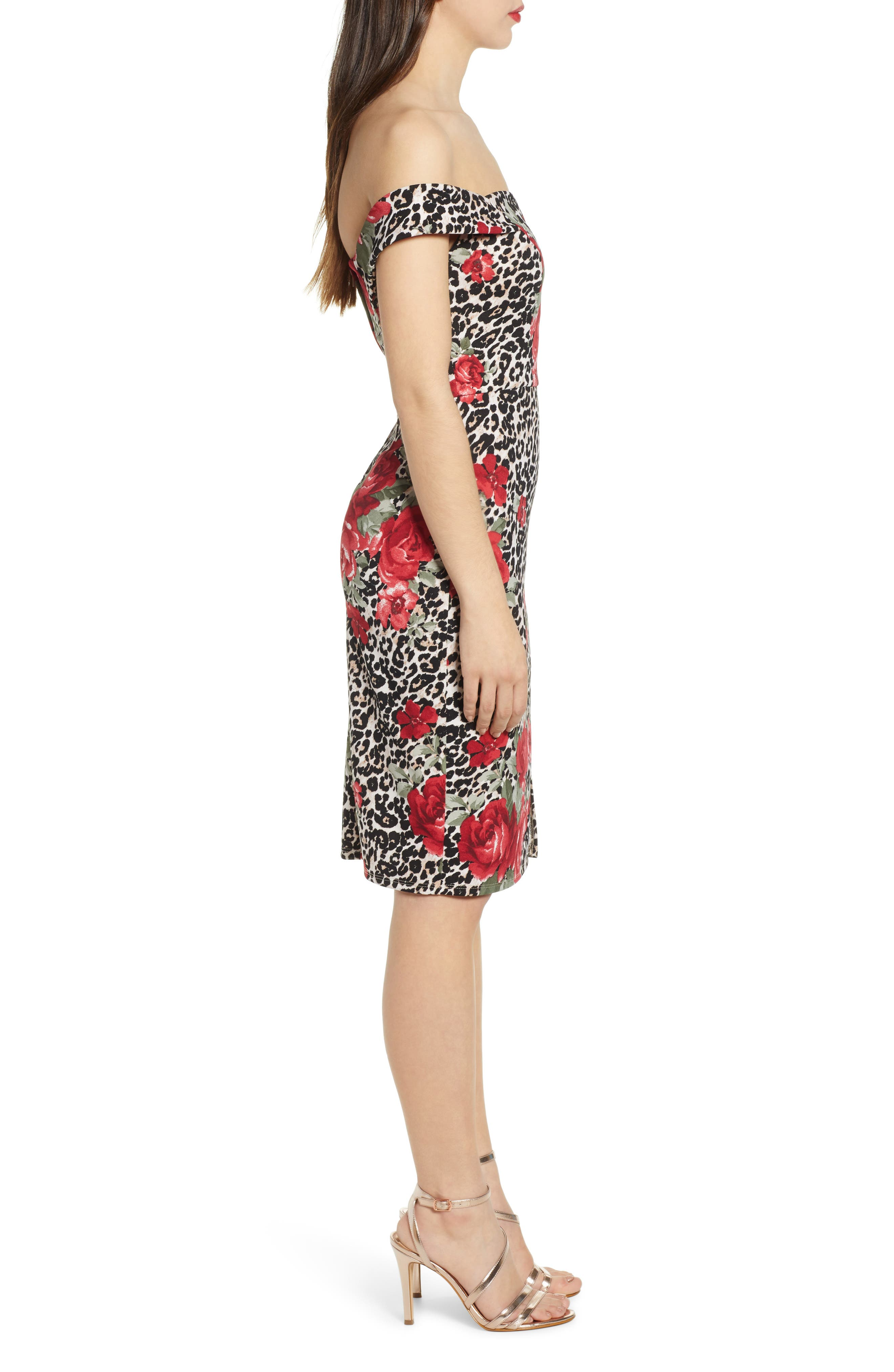 ,                             Mix Print Off the Shoulder Midi Dress,                             Alternate thumbnail 4, color,                             IVORY RED