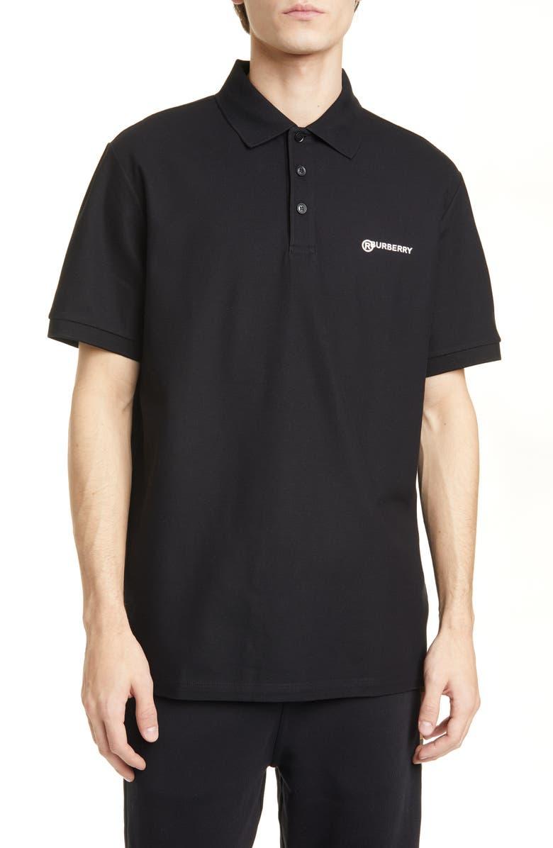 BURBERRY Horseferry Logo Black Short Sleeve Polo, Main, color, 001