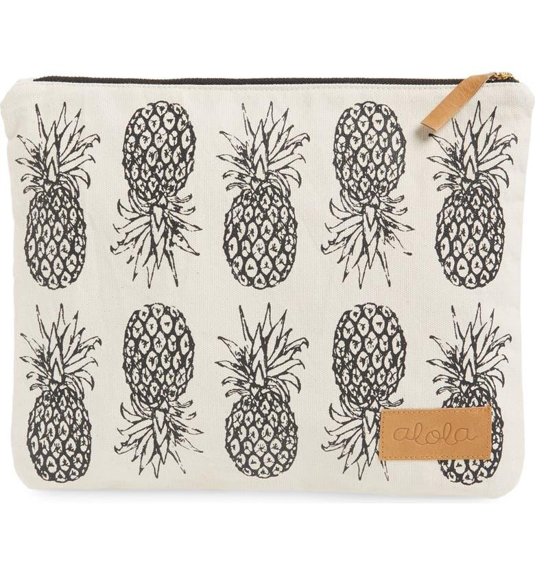 ALOLA Pineapple Print Canvas Clutch, Main, color, 250
