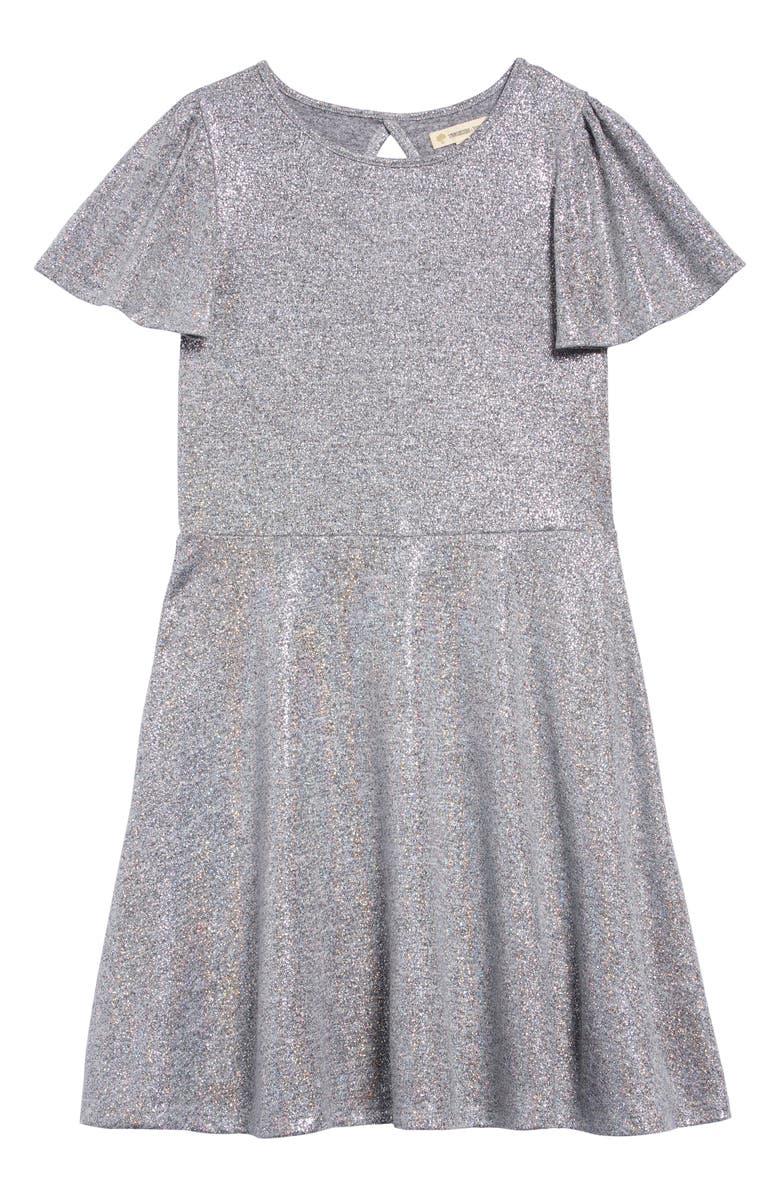 TUCKER + TATE Flutter Sleeve Sparkle Dress, Main, color, 040