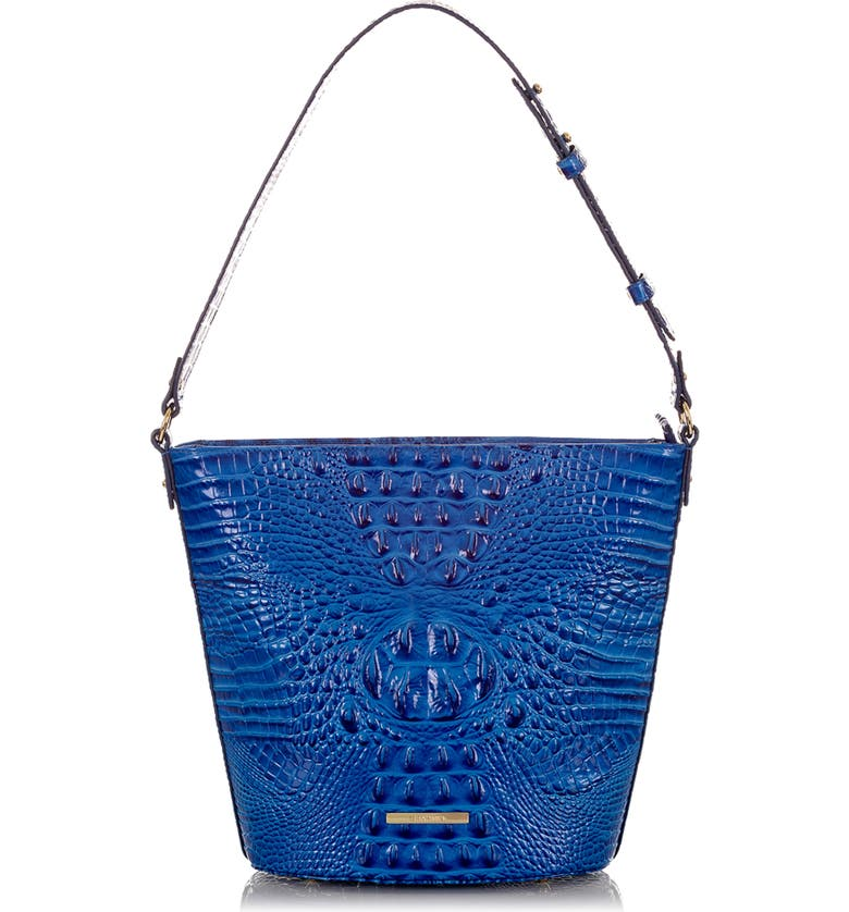 BRAHMIN Quinn Croc Embossed Leather Bucket Bag, Main, color, COBALT