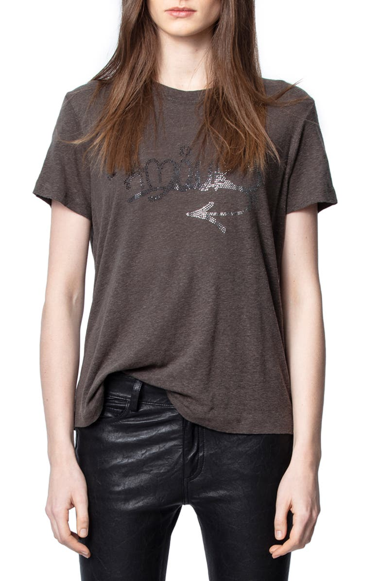ZADIG & VOLTAIRE Azedi Strass Tee, Main, color, CARBONE