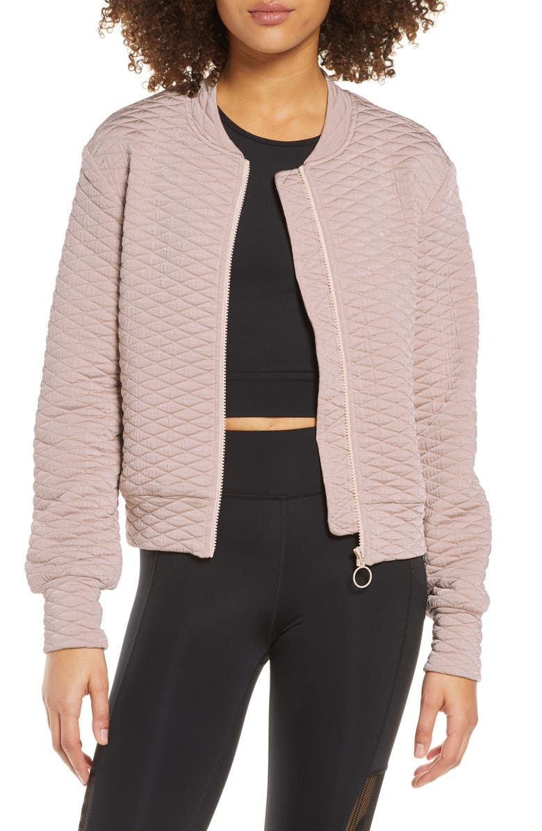 THE UPSIDE Jagger Quilted Bomber Jacket, Main, color, BLUSH