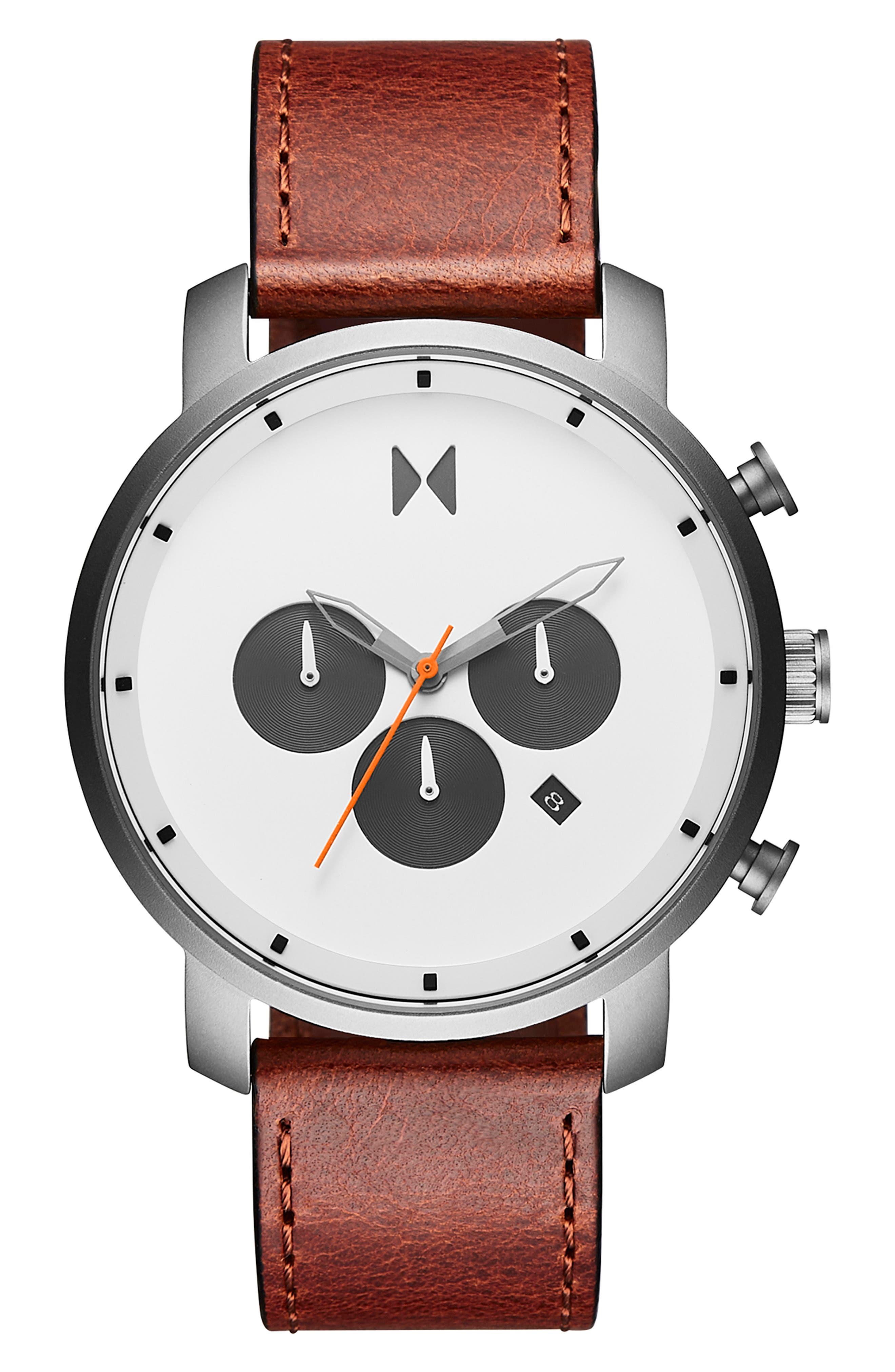 Chrono Chronograph Leather Strap Watch