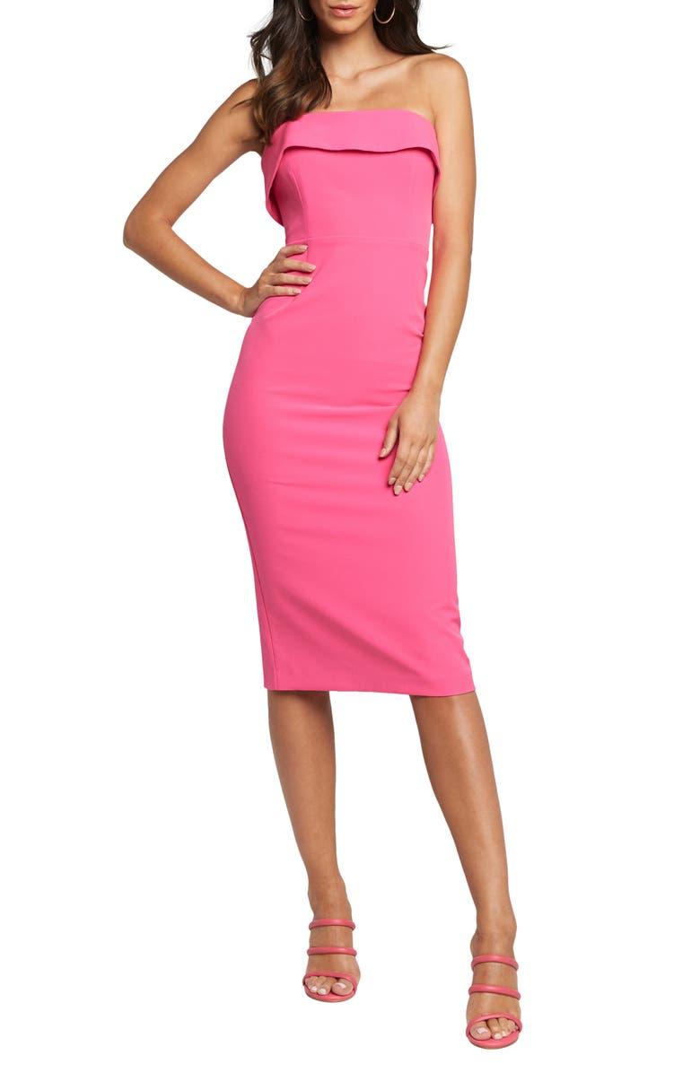 BARDOT Georgia Strapless Dress, Main, color, NEON PINK