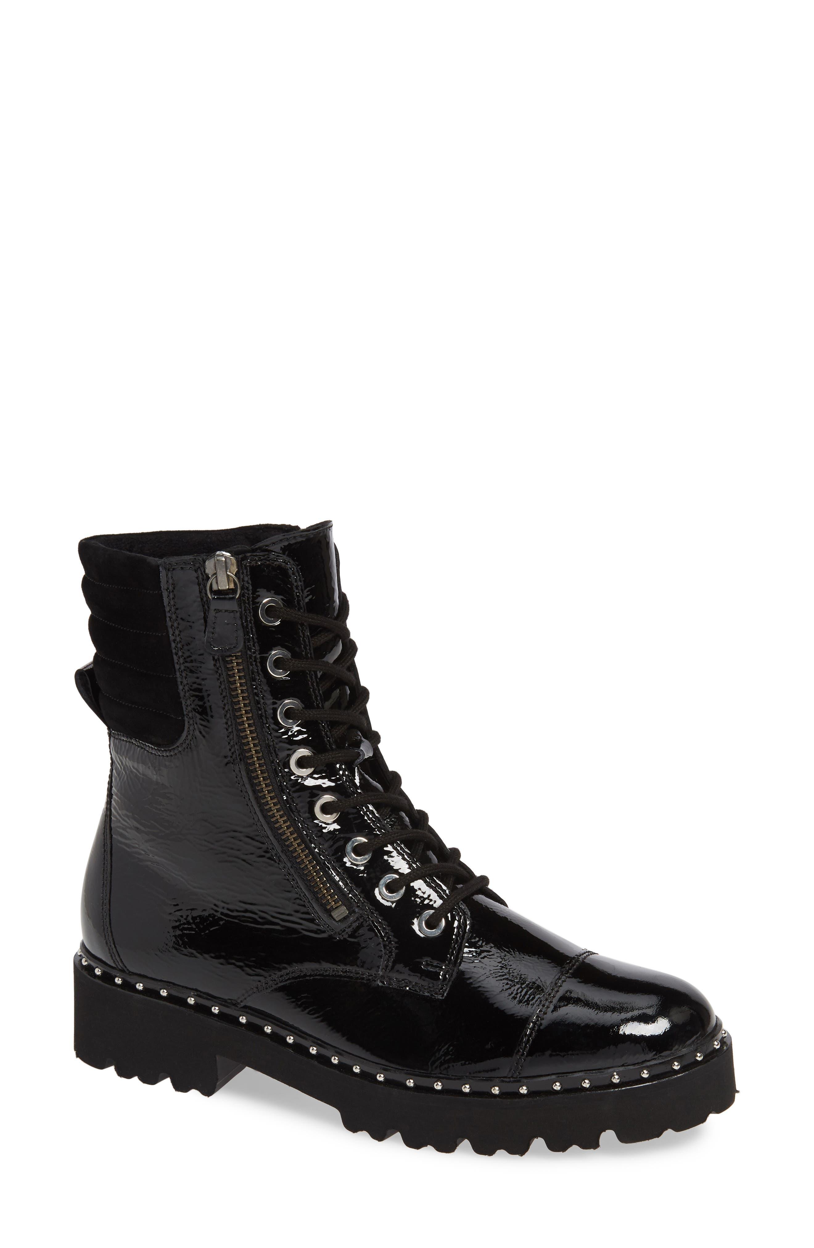 Gabor Patent Combat Boot, Black