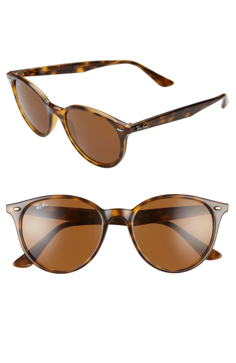RAY-BAN Phantos 53mm Round Sunglasses, Main, color, HAVANA/ BROWN SOLID