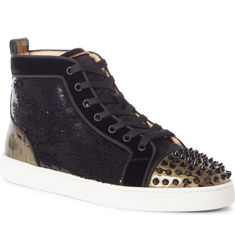 CHRISTIAN LOUBOUTIN Louis Spikes Orlato High Top Sneaker, Main, color, VERSION BLACK