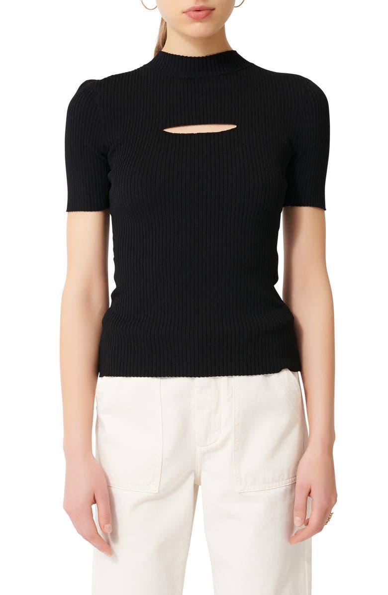 MAJE Ribbed Sweater, Main, color, BLACK