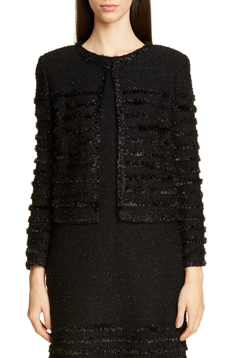 ST. JOHN COLLECTION Glimmering Textured Tweed Jacket, Main, color, CAVIAR