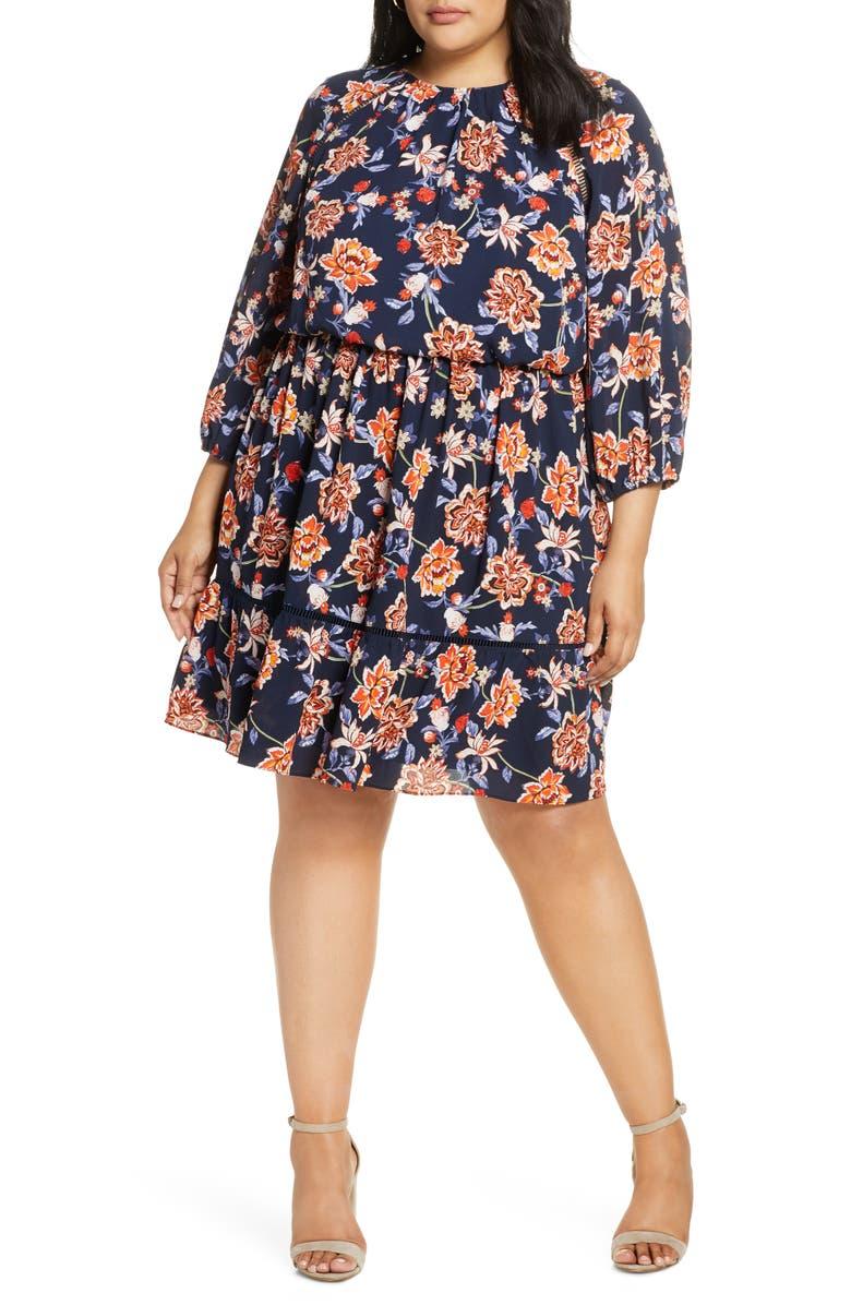 ELIZA J Floral Crepe Blouson Dress, Main, color, NAVY ORANG
