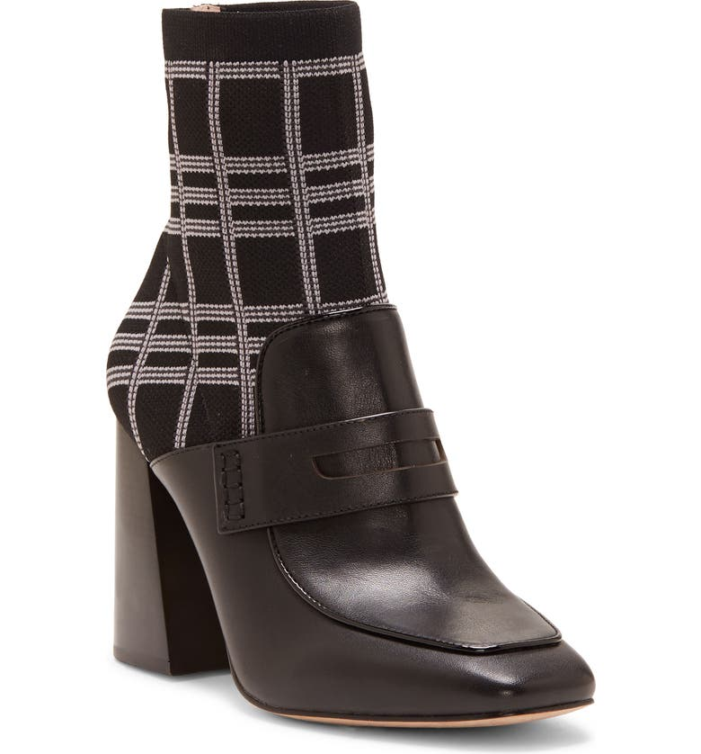 LOUISE ET CIE Izel Sock Bootie, Main, color, BLACK LEATHER/ PRINT MULTI