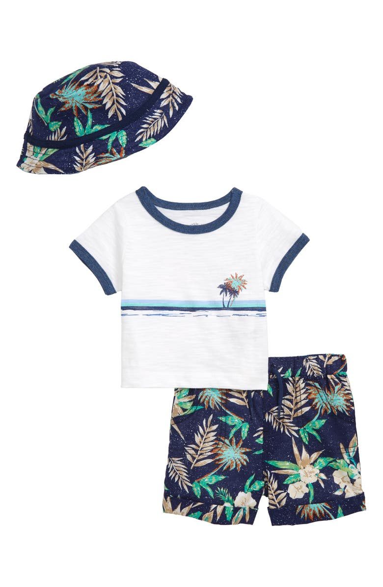 LITTLE ME Tropical T-Shirt, Shorts & Hat Set, Main, color, 457