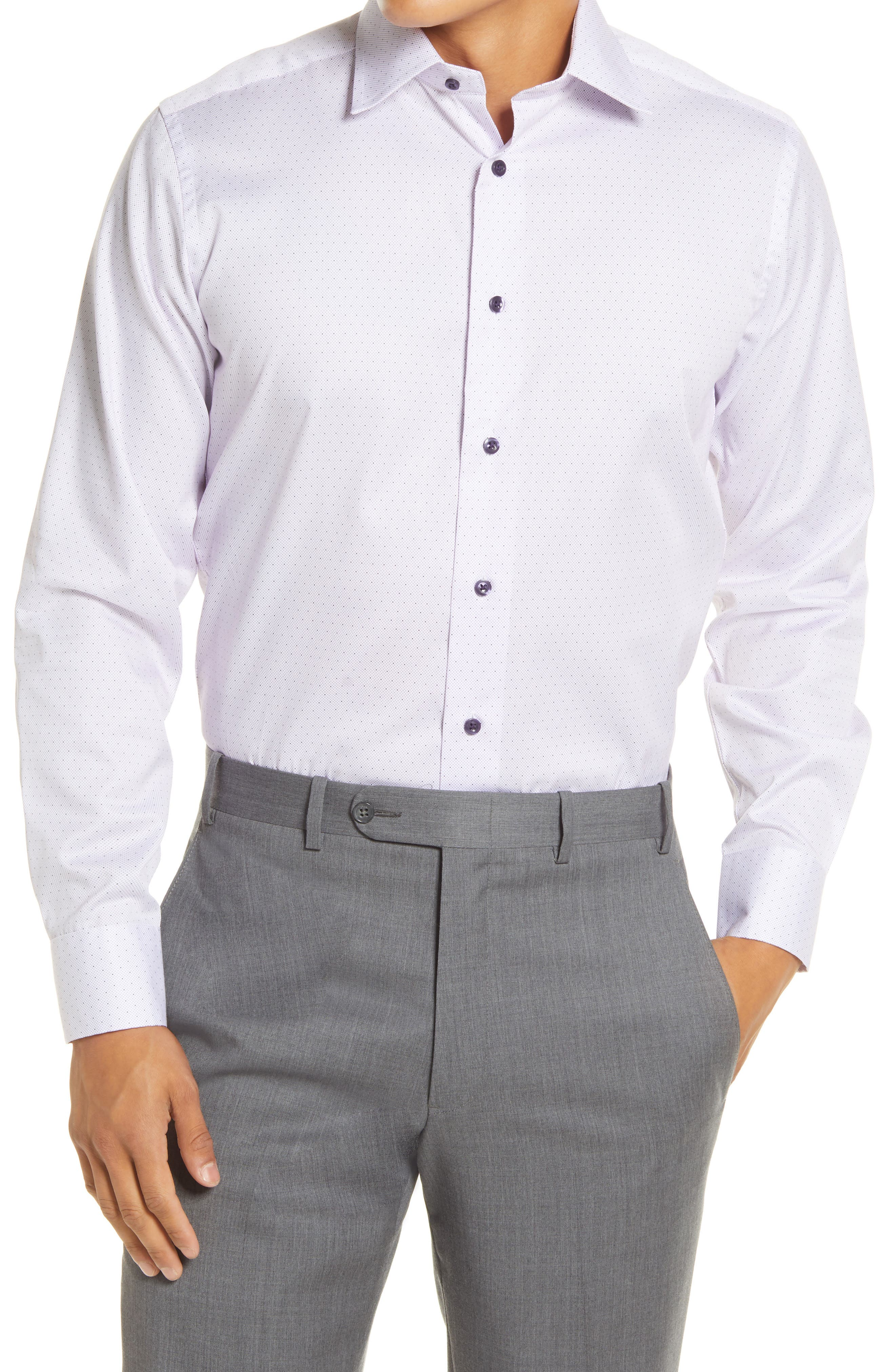 Trim Fit Dot Print Dress Shirt