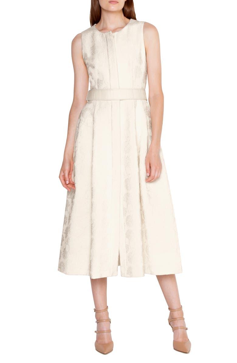 AKRIS Floral Jacquard Midi Dress, Main, color, JASMINE