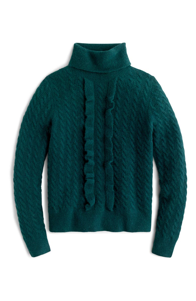 J.CREW Supersoft Ruffle Front Turtleneck, Main, color, OLD FOREST
