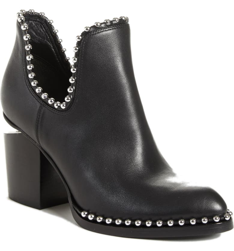 ALEXANDER WANG Gabi Studded Bootie, Main, color, BLACK