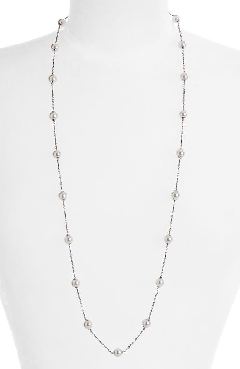 MAJORICA 8mm Pearl Station Necklace, Main, color, 100