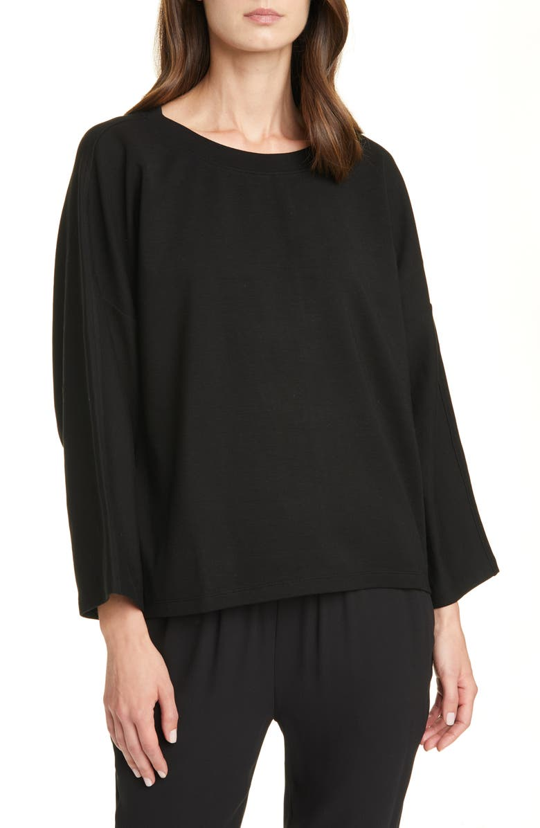 EILEEN FISHER Bell Sleeve Pullover, Main, color, 001