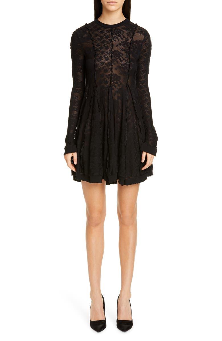 Stella McCartney Long Sleeve Linear Lace Skater Dress