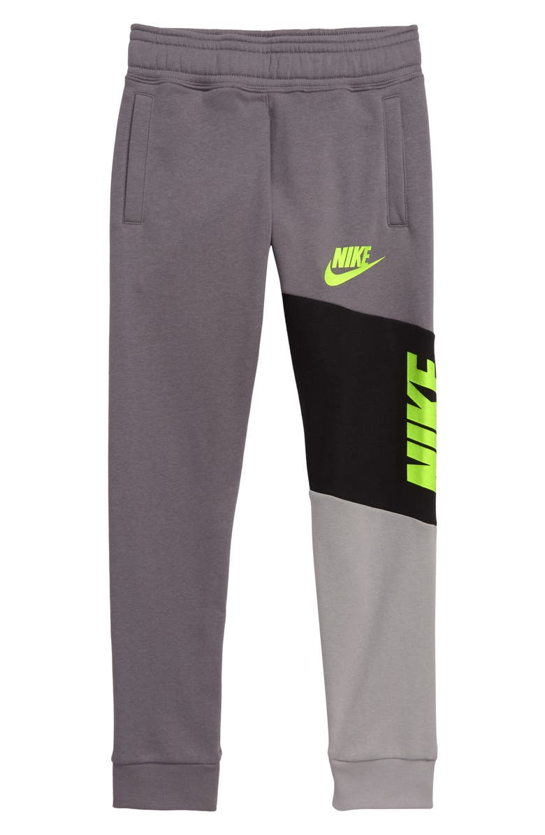 NIKE Sportswear Core Amplify Colorblock Fleece Pants, Main, color, GUNSMOKE/ BLACK