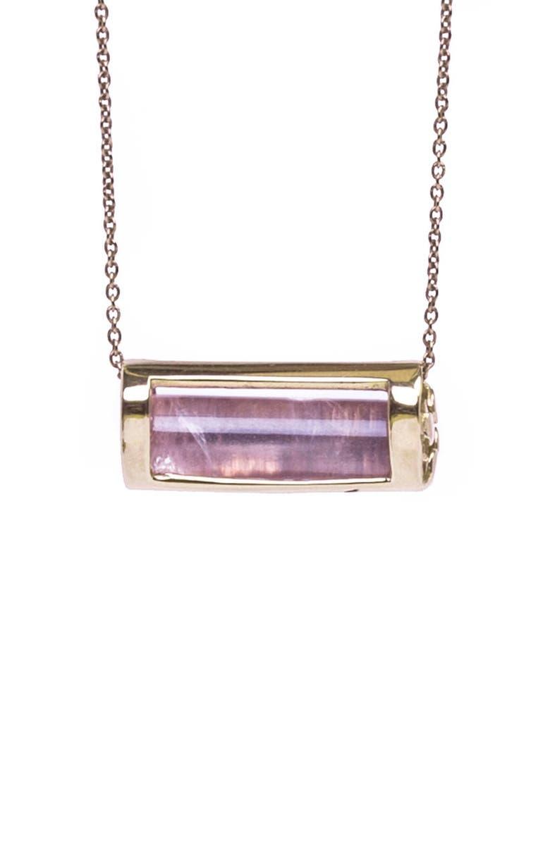 CONGÉS Love & Positivity Rose Quartz Barrel Pendant Necklace, Main, color, YELLOW GOLD