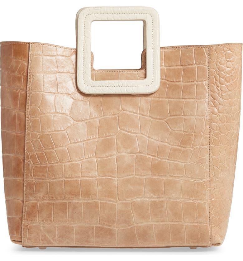 STAUD Shirley Croc Embossed Leather Handbag, Main, color, CAMEL/ CREAM CROC