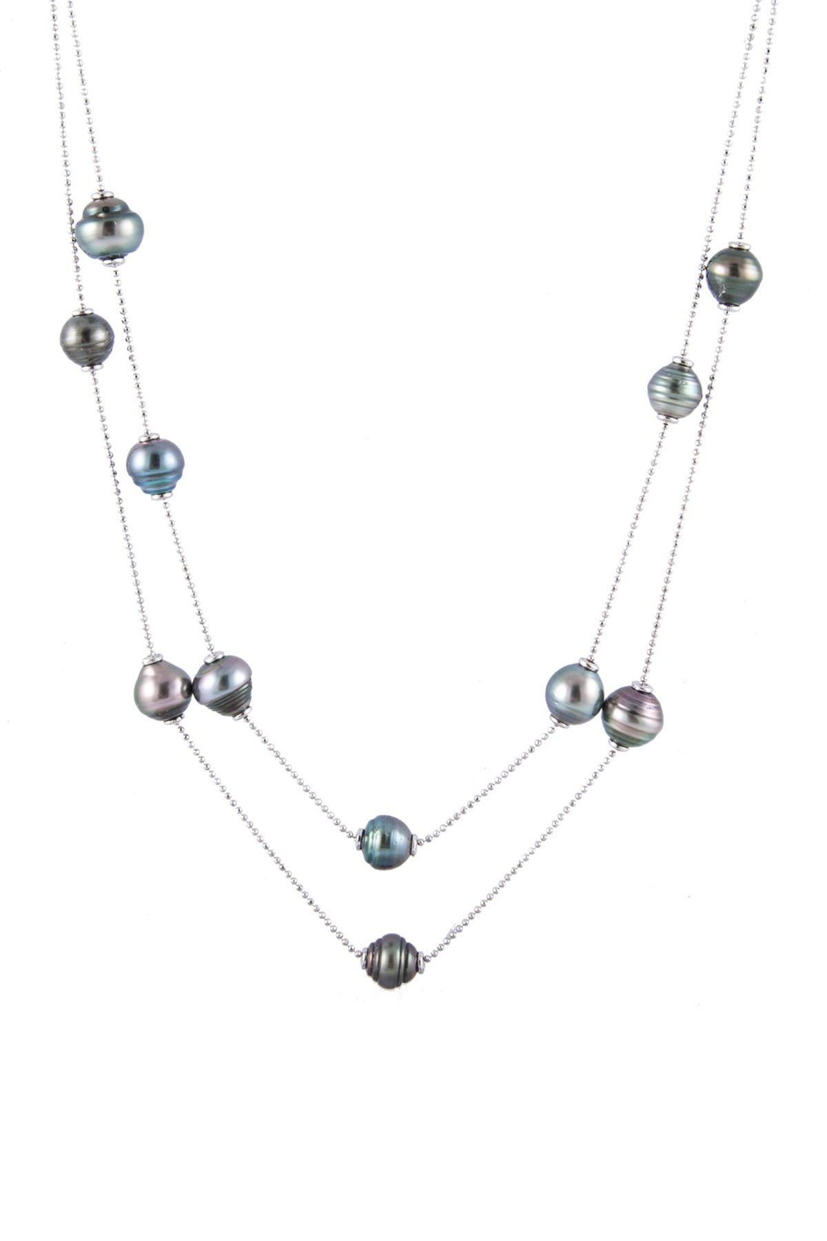 Image of Splendid Pearls 10-11mm Tahitian Pearl Tin Cup Double Strand Necklace