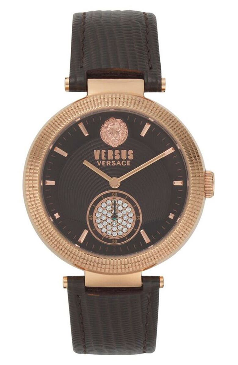 VERSUS VERSACE Star Ferry Leather Strap Watch, 38mm, Main, color, BROWN/ ROSE GOLD