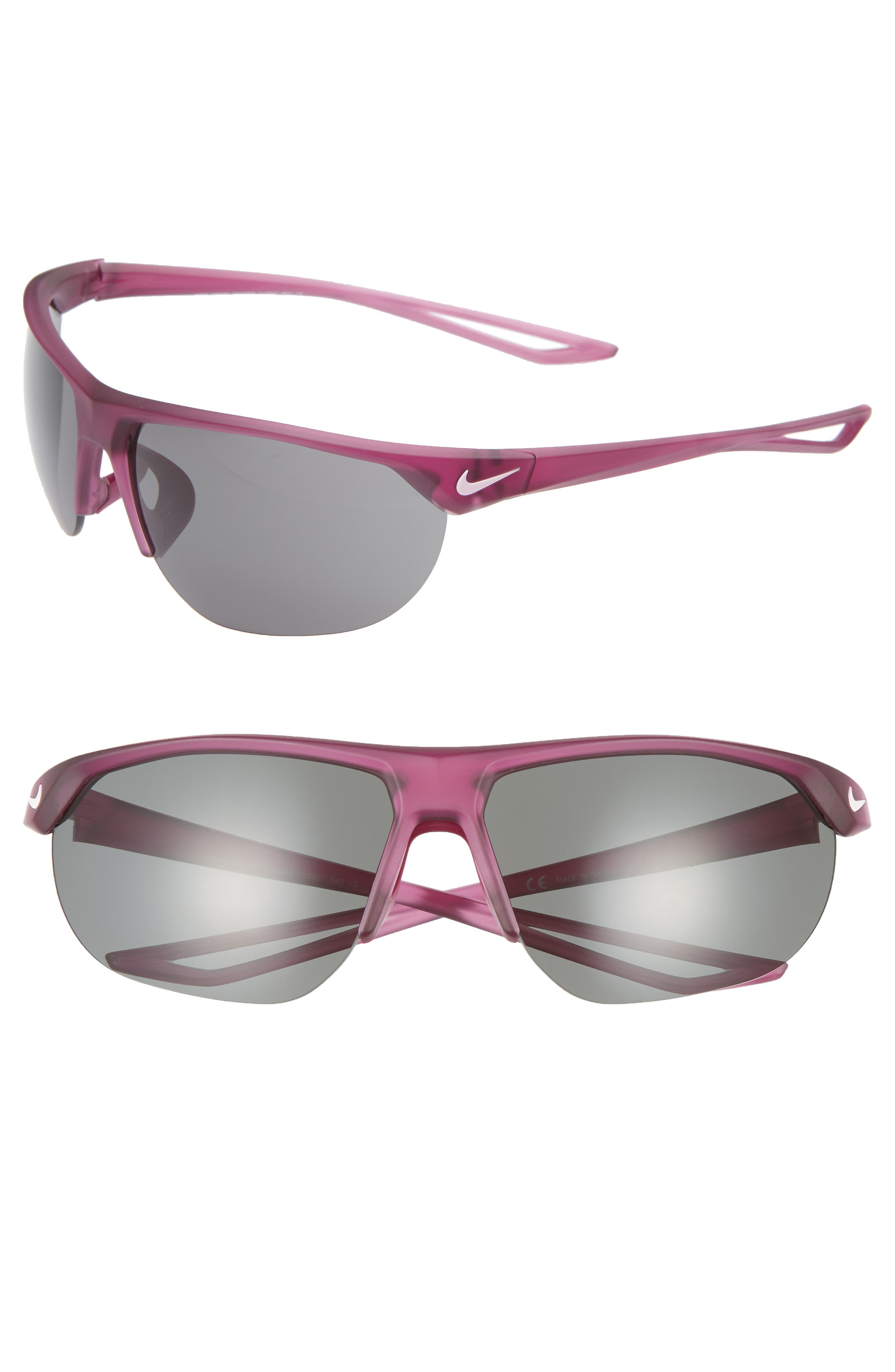 Nike Cross Trainer 67Mm Shield Sunglasses - Berry/ Dark Grey