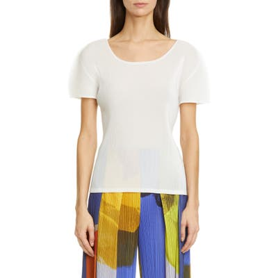 Pleats Please Issey Miyake Pleated Top, (fits like 2 US) - White