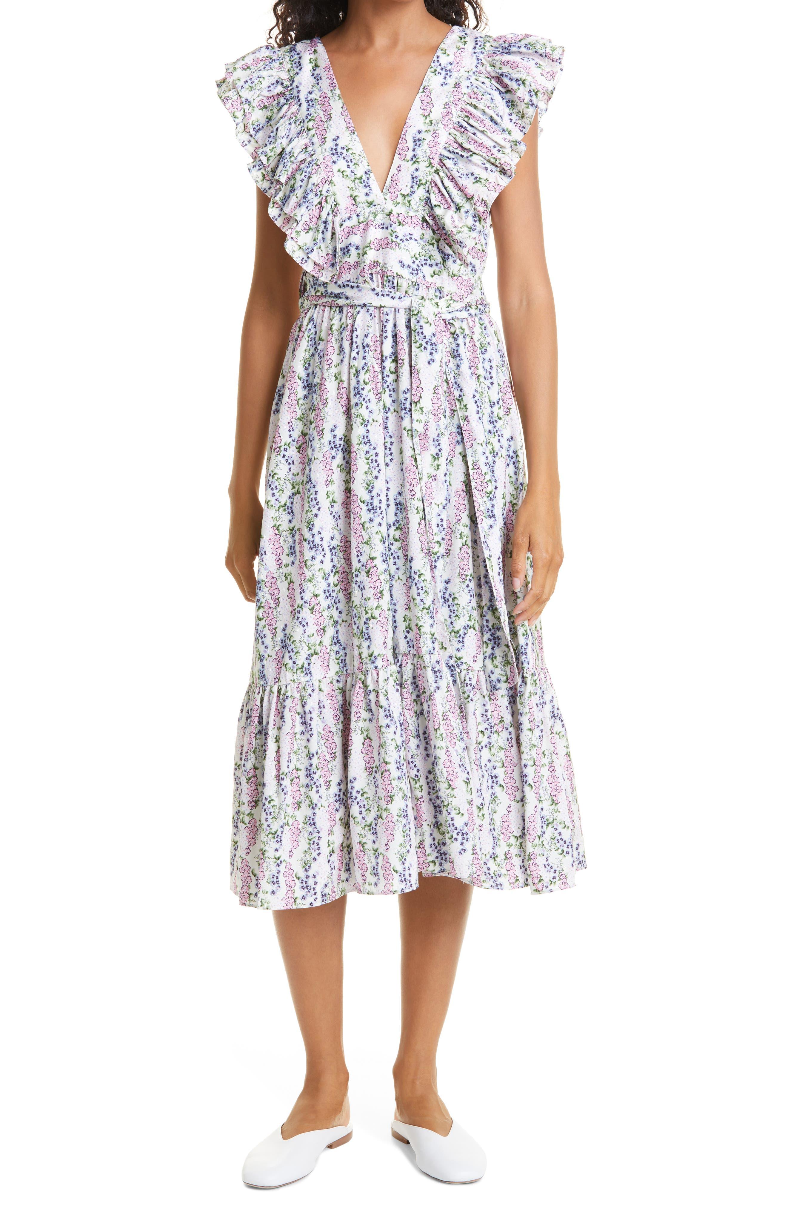 Blue Field Floral Ruffle Midi Dress