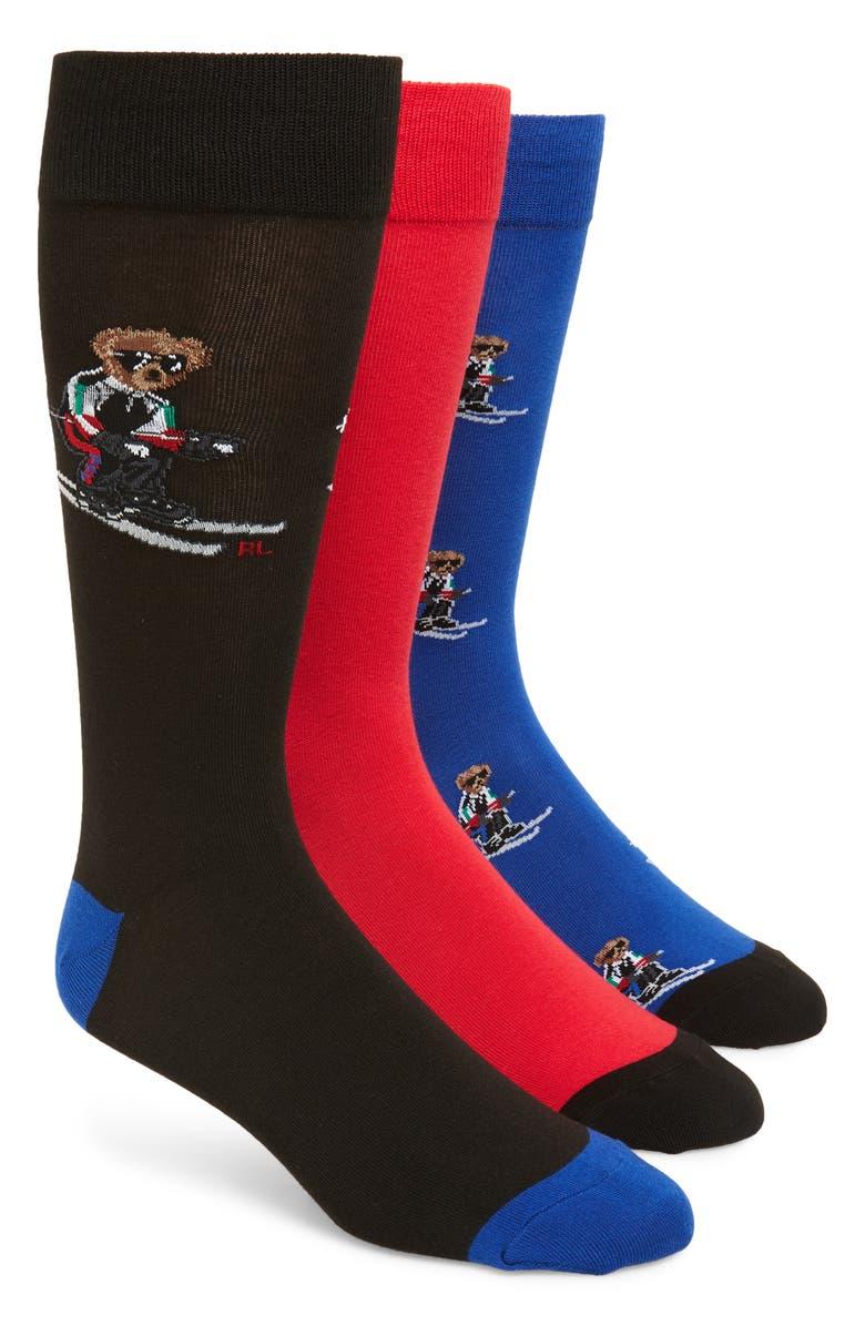 POLO RALPH LAUREN Sporty Skier Bear 3-Pack Socks, Main, color, 001
