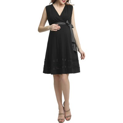 Kimi And Kai Marji Lace Accent Babydoll Maternity/nursing Dress, Black