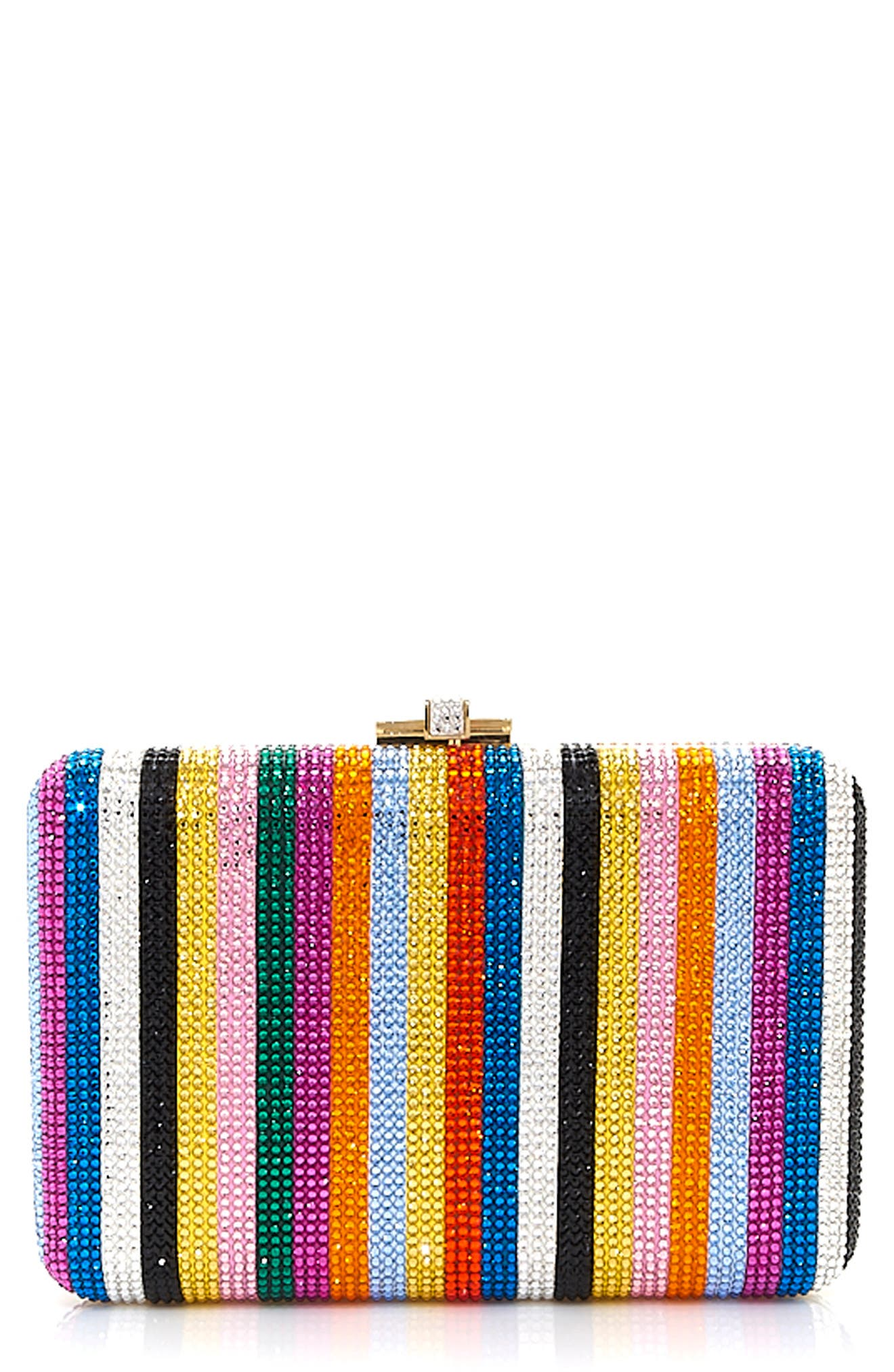 Couture Candy Stripe Crystal Frame Clutch